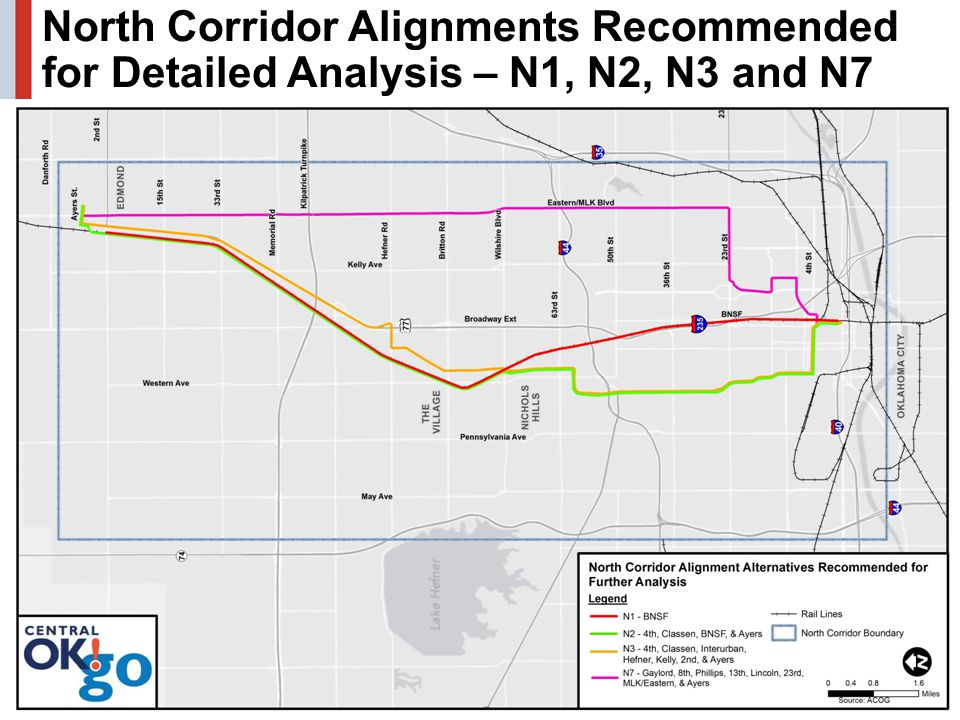 25 North Corridor Alignments Recommended for Detailed Analysis – N1, N2, N3 and N7