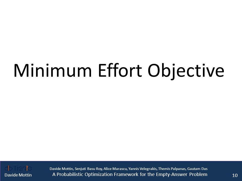 Davide Mottin, Senjuti Basu Roy, Alice Marascu, Yannis Velegrakis, Themis Palpanas, Gautam Das A Probabilistic Optimization Framework for the Empty-Answer Problem Davide Mottin Minimum Effort Objective 10