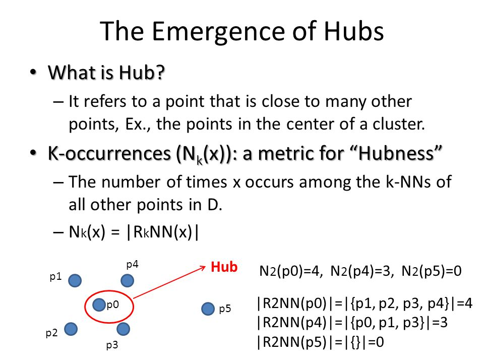 The Emergence of Hubs Main Result Main Result : As dimensionality increases, the distribution of k-occurences becomes considerably skewed and hub points emerge (points with very high k-occurrences)