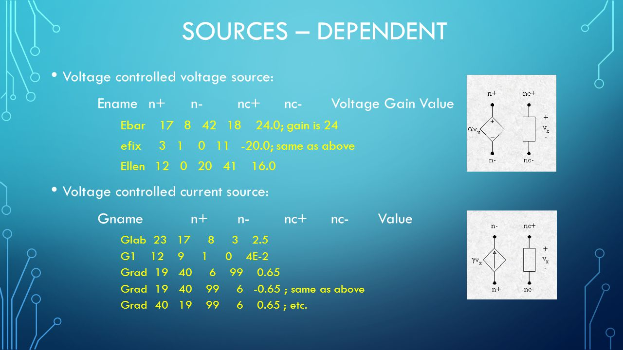 SOURCES – DEPENDENT Voltage controlled voltage source: Ename n+ n- nc+ nc- Voltage Gain Value Ebar 17 8 42 18 24.0; gain is 24 efix 3 1 0 11 -20.0; same as above Ellen 12 0 20 41 16.0 Voltage controlled current source: Gname n+ n- nc+ nc- Value Glab 23 17 8 3 2.5 G1 12 9 1 0 4E-2 Grad 19 40 6 99 0.65 Grad 19 40 99 6 -0.65 ; same as above Grad 40 19 99 6 0.65 ; etc.
