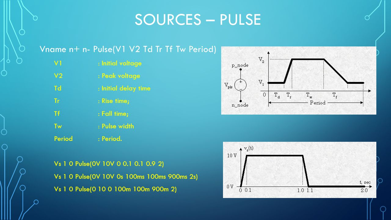SOURCES – PULSE Vname n+ n- Pulse(V1 V2 Td Tr Tf Tw Period) V1: Initial voltage V2: Peak voltage Td: Initial delay time Tr: Rise time; Tf: Fall time; Tw: Pulse width Period : Period.