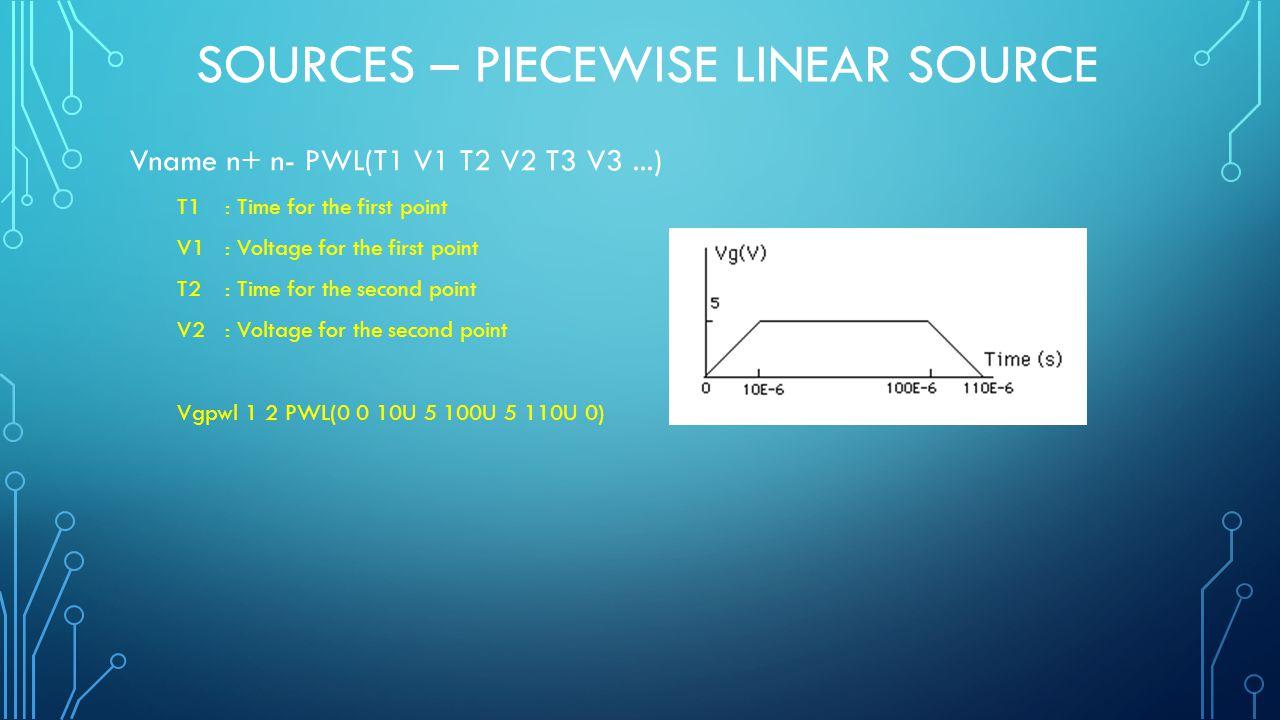SOURCES – PIECEWISE LINEAR SOURCE Vname n+ n- PWL(T1 V1 T2 V2 T3 V3...) T1: Time for the first point V1: Voltage for the first point T2: Time for the second point V2: Voltage for the second point Vgpwl 1 2 PWL(0 0 10U 5 100U 5 110U 0)