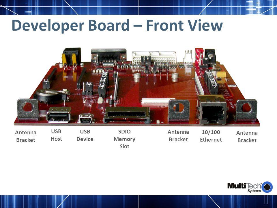 Developer Board – Front View Antenna Bracket Antenna Bracket Antenna Bracket USB Host USB Device SDIO Memory Slot 10/100 Ethernet