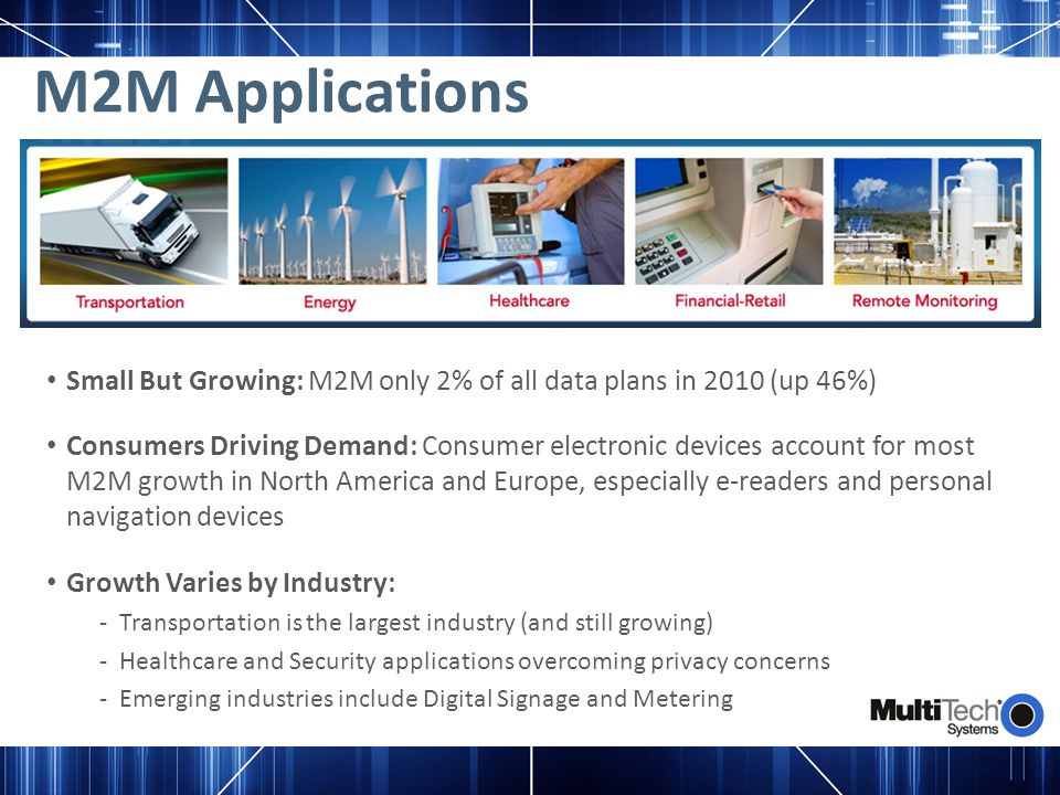 M2M Applications Small But Growing: M2M only 2% of all data plans in 2010 (up 46%) Consumers Driving Demand: Consumer electronic devices account for m