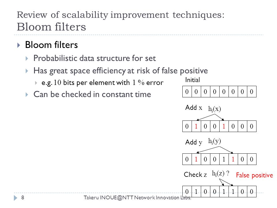 Review of scalability improvement techniques: Bloom filters Takeru INOUE@NTT Network Innovation Labs.8  Bloom filters  Probabilistic data structure for set  Has great space efficiency at risk of false positive  e.g.
