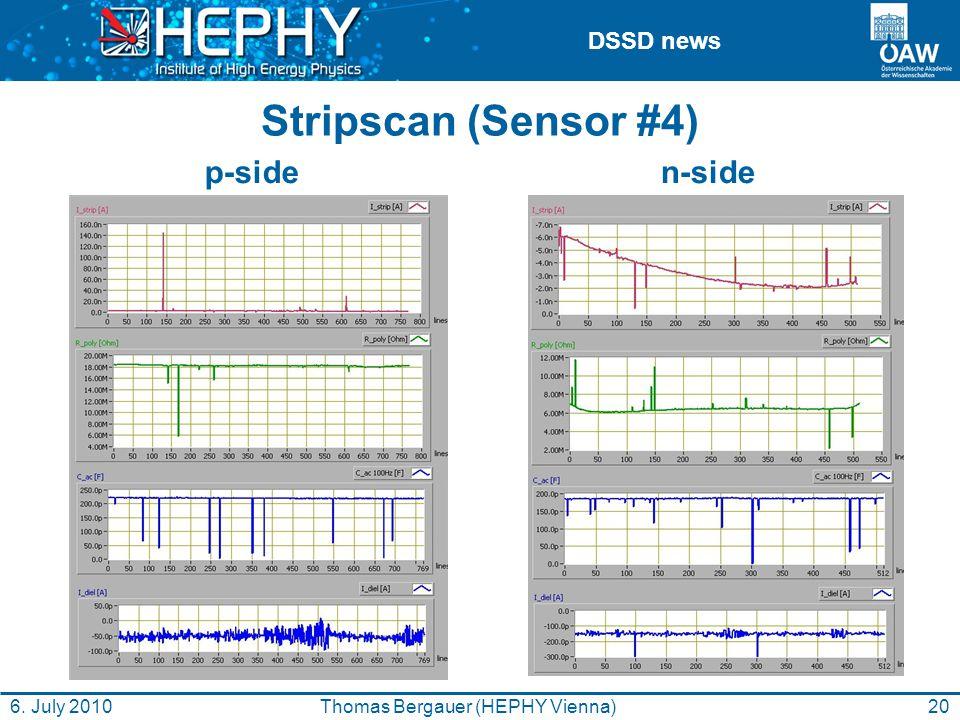 DSSD news Stripscan (Sensor #4) n-side p-side 20Thomas Bergauer (HEPHY Vienna)6. July 2010