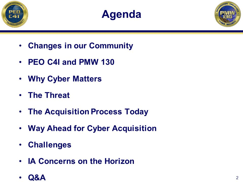Agenda Changes in our Community PEO C4I and PMW 130 Why Cyber Matters The Threat The Acquisition Process Today Way Ahead for Cyber Acquisition Challen