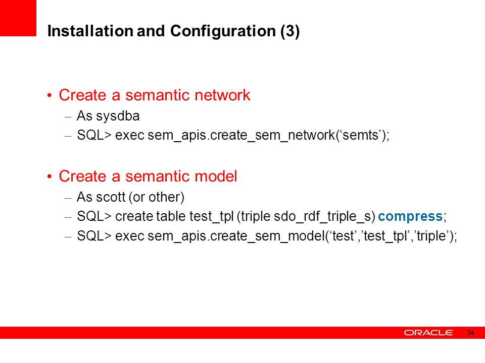 Installation and Configuration (3) Create a semantic network – As sysdba – SQL> exec sem_apis.create_sem_network('semts'); Create a semantic model – A