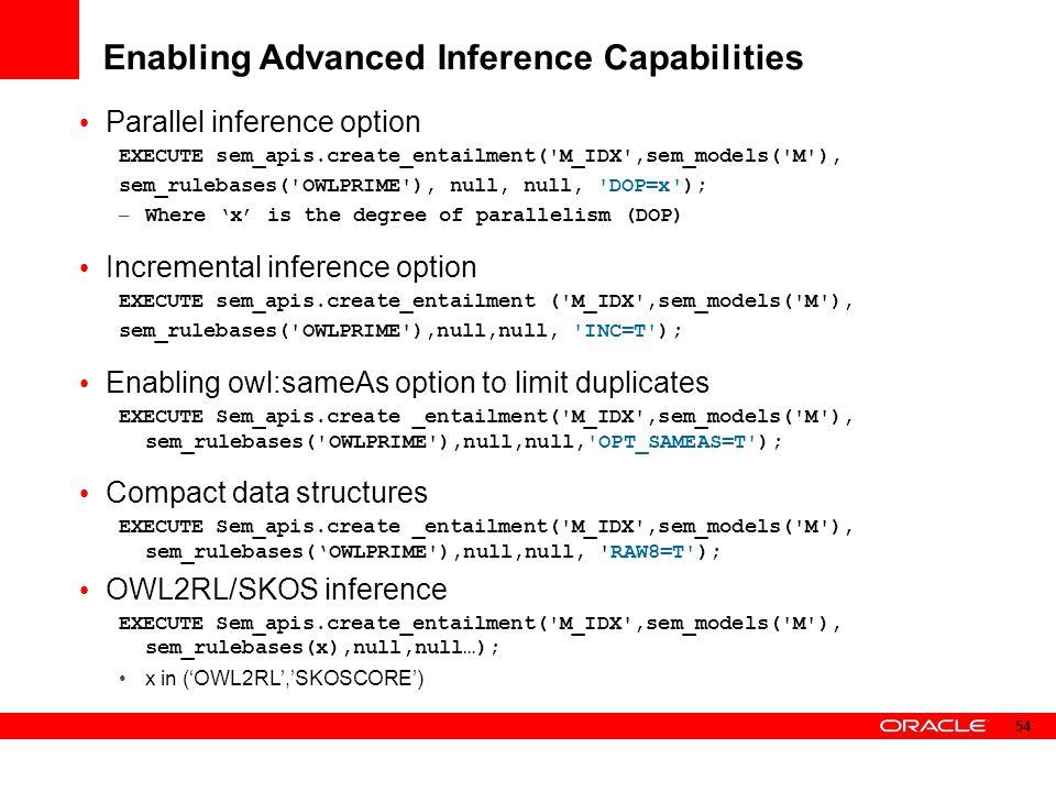 Enabling Advanced Inference Capabilities Parallel inference option EXECUTE sem_apis.create_entailment('M_IDX',sem_models('M'), sem_rulebases('OWLPRIME