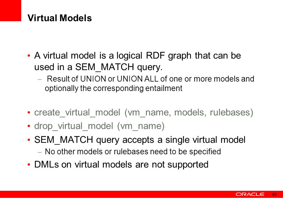 Virtual Models A virtual model is a logical RDF graph that can be used in a SEM_MATCH query. – Result of UNION or UNION ALL of one or more models and