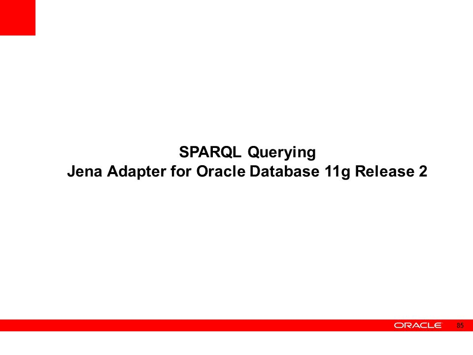 SPARQL Querying Jena Adapter for Oracle Database 11g Release 2 85