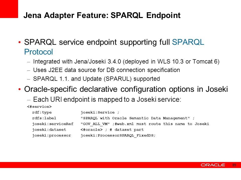 Jena Adapter Feature: SPARQL Endpoint SPARQL service endpoint supporting full SPARQL Protocol – Integrated with Jena/Joseki 3.4.0 (deployed in WLS 10.