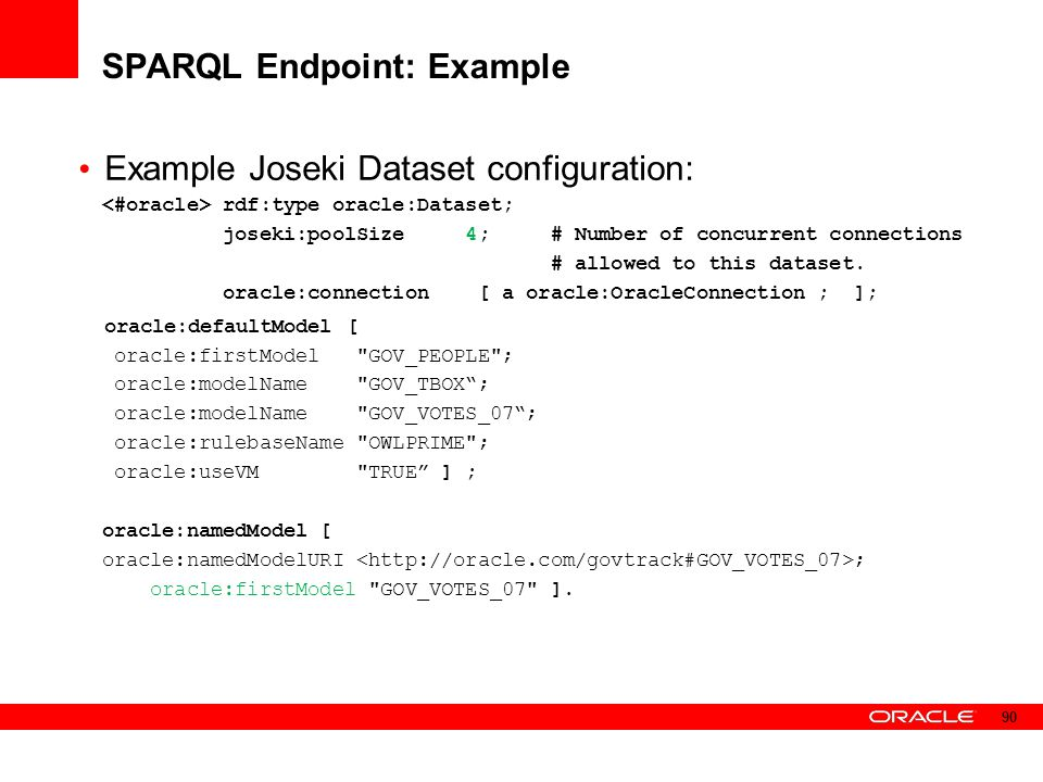 SPARQL Endpoint: Example Example Joseki Dataset configuration: rdf:type oracle:Dataset; joseki:poolSize 4; # Number of concurrent connections # allowe