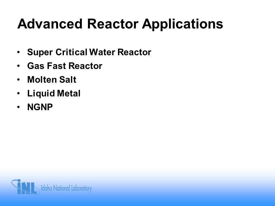 Advanced Reactor Applications Super Critical Water Reactor Gas Fast Reactor Molten Salt Liquid Metal NGNP