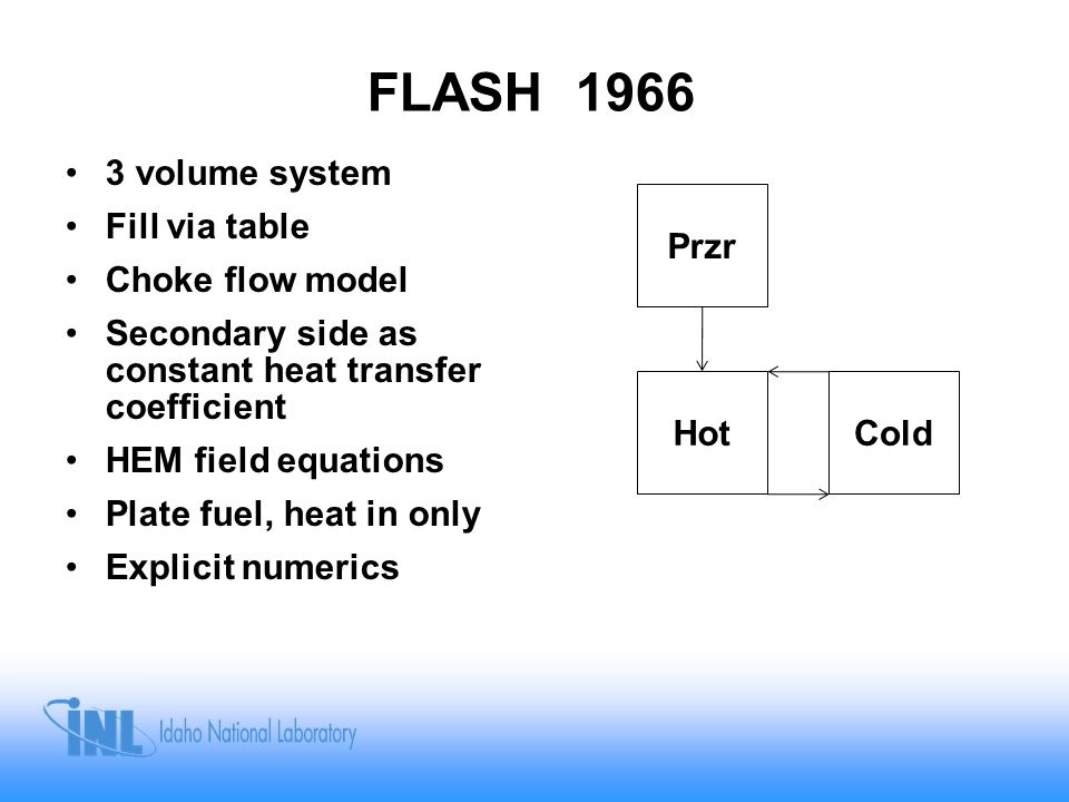 RELAPSE-1 RELAP1 1966 Evolved from FLASH (basic leak/fill capability) –Reactor kinetics –Control systems 3 Volumes –Heat Ex to Rx In –Rx Out to Heat Ex –Pressurizer Rx Heat added at junction of volume 1 & 2 Models for nucleate and film boiling