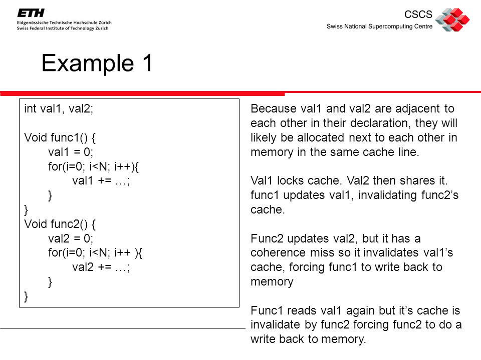 Example 1 int val1, val2; Void func1() { val1 = 0; for(i=0; i<N; i++){ val1 += …; } Void func2() { val2 = 0; for(i=0; i<N; i++ ){ val2 += …; } Because val1 and val2 are adjacent to each other in their declaration, they will likely be allocated next to each other in memory in the same cache line.