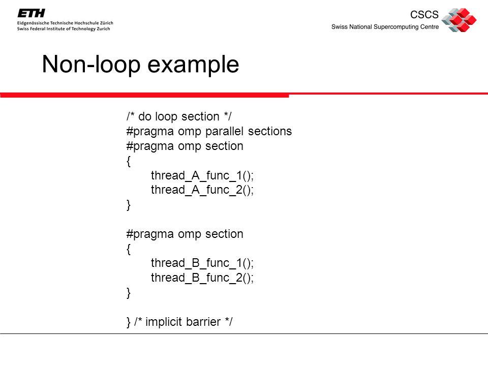 Non-loop example /* do loop section */ #pragma omp parallel sections #pragma omp section { thread_A_func_1(); thread_A_func_2(); } #pragma omp section { thread_B_func_1(); thread_B_func_2(); } } /* implicit barrier */