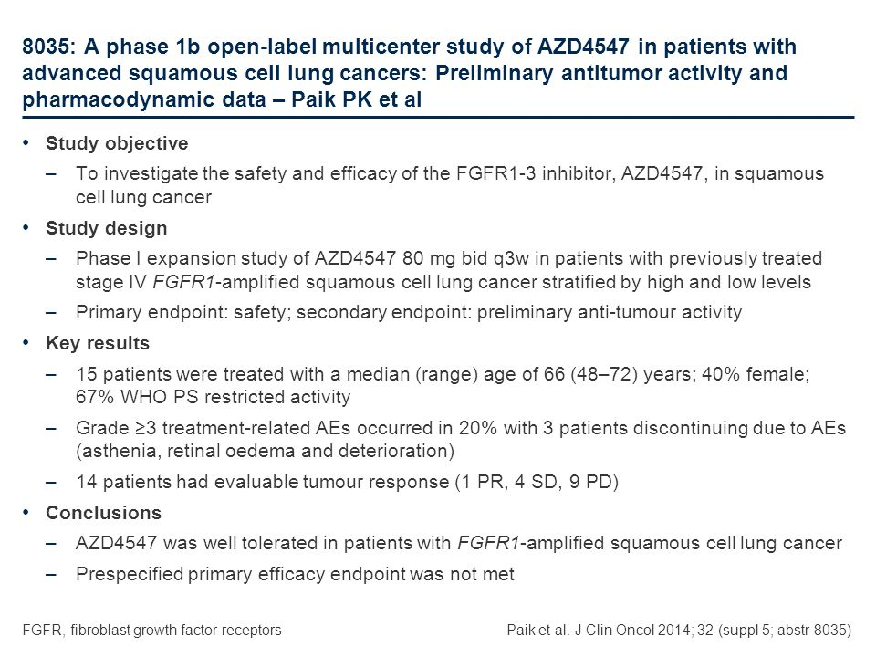 8035: A phase 1b open-label multicenter study of AZD4547 in patients with advanced squamous cell lung cancers: Preliminary antitumor activity and phar