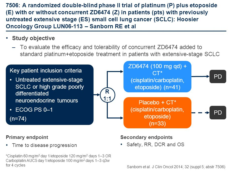 7506: A randomized double-blind phase II trial of platinum (P) plus etoposide (E) with or without concurrent ZD6474 (Z) in patients (pts) with previou