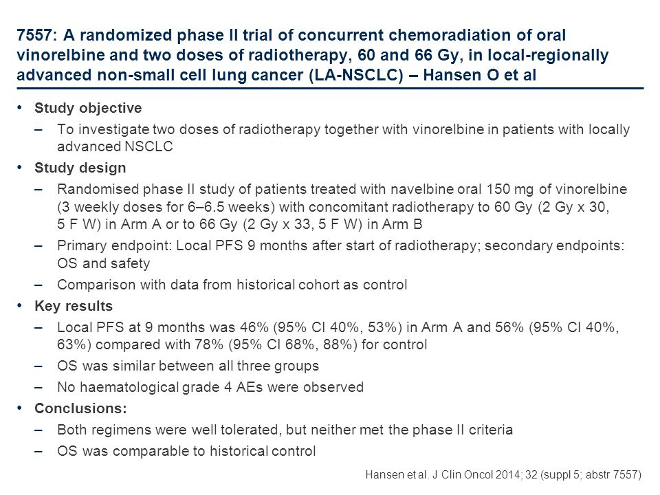 7557: A randomized phase II trial of concurrent chemoradiation of oral vinorelbine and two doses of radiotherapy, 60 and 66 Gy, in local-regionally ad