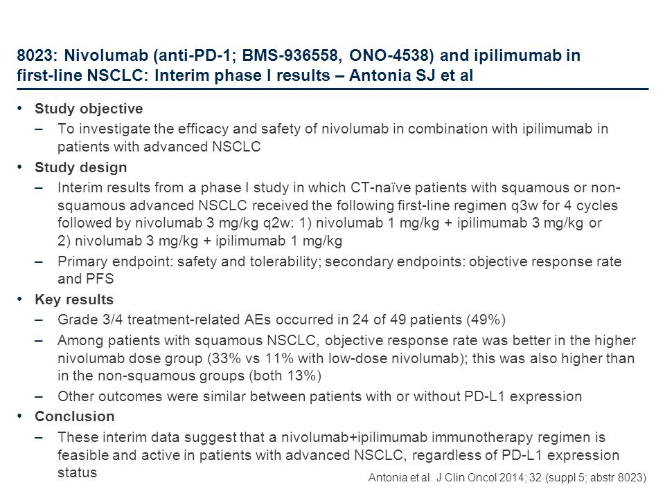 8023: Nivolumab (anti-PD-1; BMS-936558, ONO-4538) and ipilimumab in first-line NSCLC: Interim phase I results – Antonia SJ et al Study objective –To i