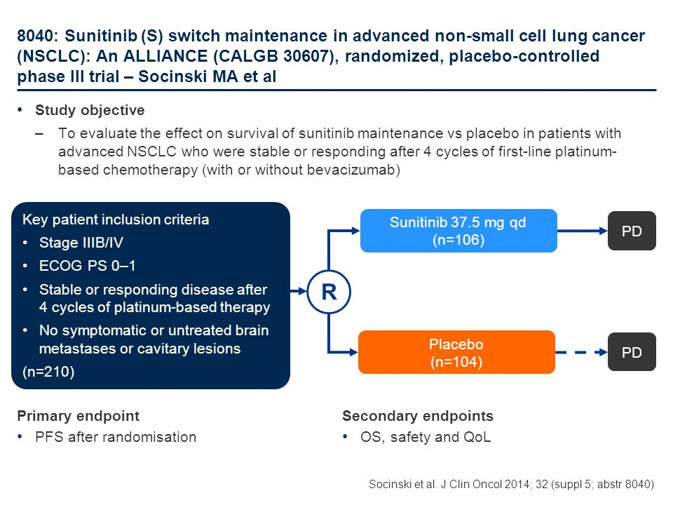8040: Sunitinib (S) switch maintenance in advanced non-small cell lung cancer (NSCLC): An ALLIANCE (CALGB 30607), randomized, placebo-controlled phase