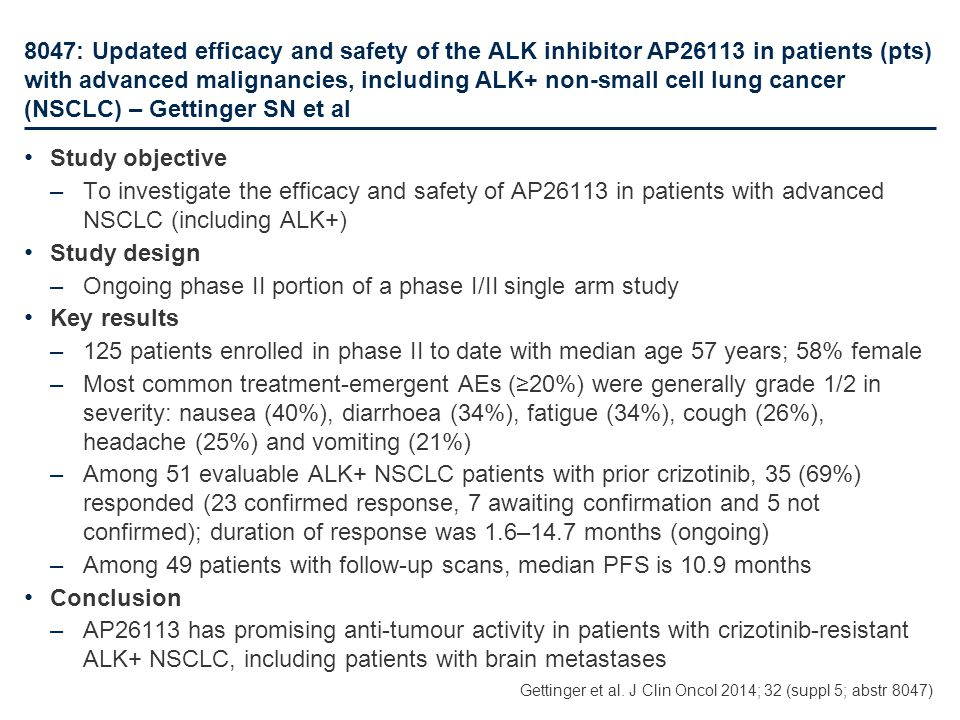 8047: Updated efficacy and safety of the ALK inhibitor AP26113 in patients (pts) with advanced malignancies, including ALK+ non-small cell lung cancer