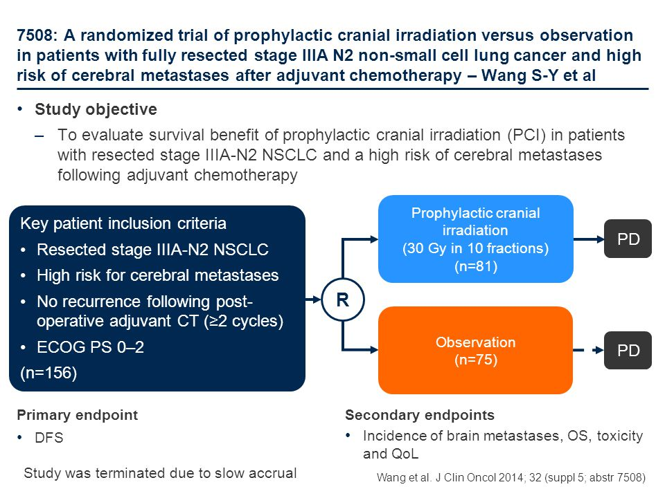 7508: A randomized trial of prophylactic cranial irradiation versus observation in patients with fully resected stage IIIA N2 non-small cell lung canc