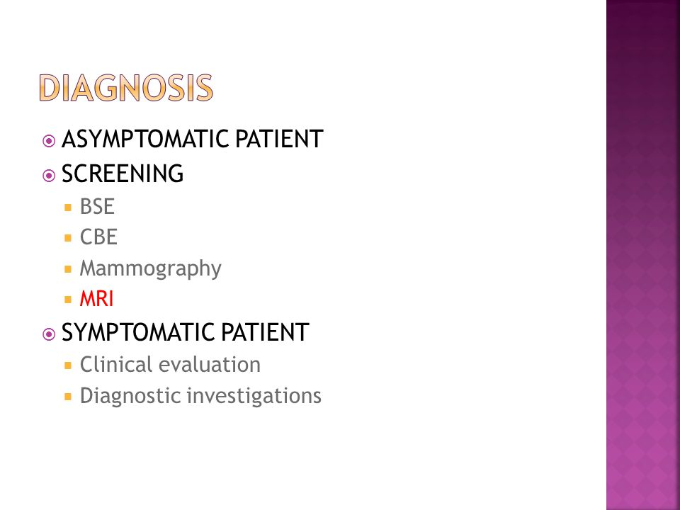  ASYMPTOMATIC PATIENT  SCREENING  BSE  CBE  Mammography  MRI  SYMPTOMATIC PATIENT  Clinical evaluation  Diagnostic investigations