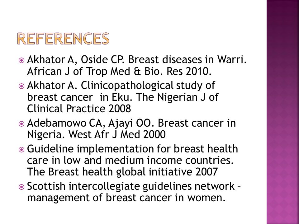  Akhator A, Oside CP. Breast diseases in Warri. African J of Trop Med & Bio. Res 2010.  Akhator A. Clinicopathological study of breast cancer in Eku