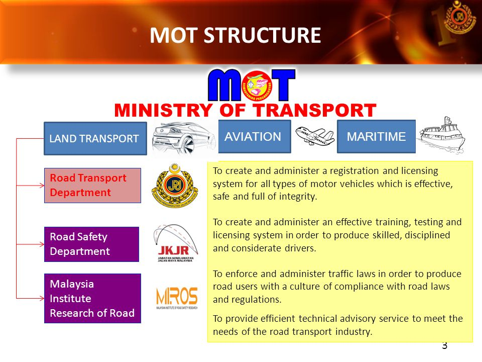 3 Road Transport Department To create and administer a registration and licensing system for all types of motor vehicles which is effective, safe and