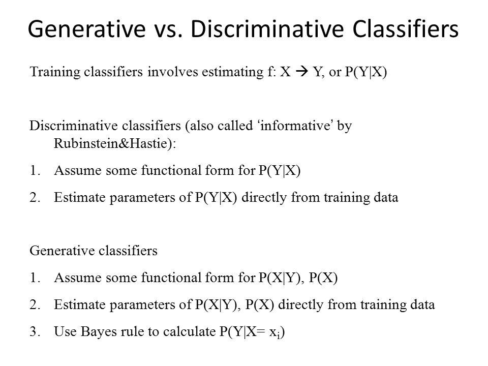 Generative vs. Discriminative Classifiers Training classifiers involves estimating f: X  Y, or P(Y|X) Discriminative classifiers (also called 'inform