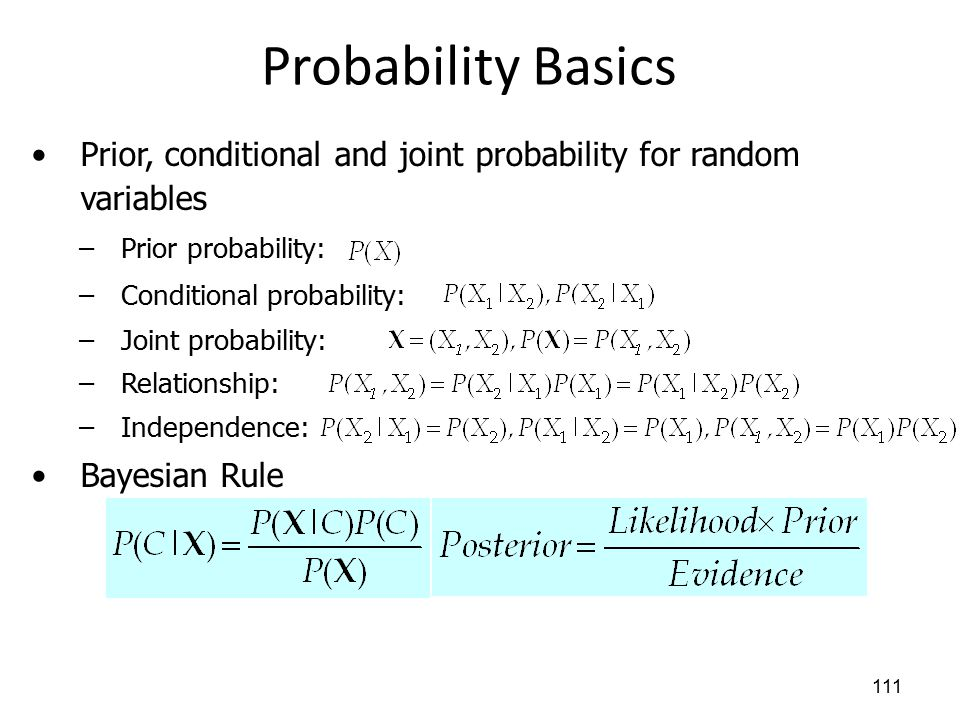 Probability Basics 111 Prior, conditional and joint probability for random variables –Prior probability: –Conditional probability: –Joint probability: –Relationship: –Independence: Bayesian Rule