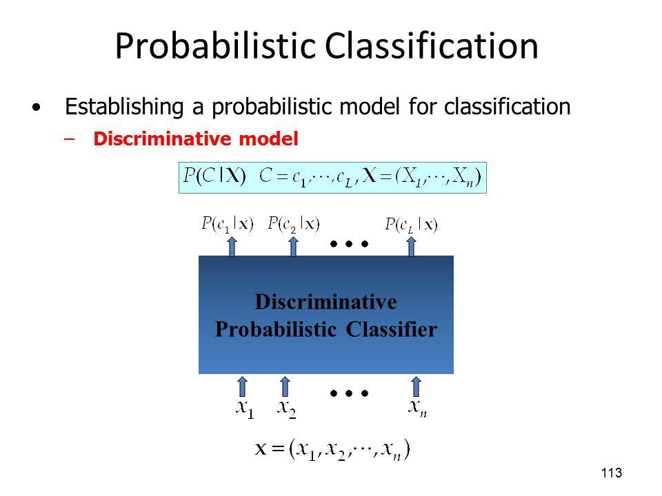 Probabilistic Classification 113 Establishing a probabilistic model for classification –Discriminative model Discriminative Probabilistic Classifier