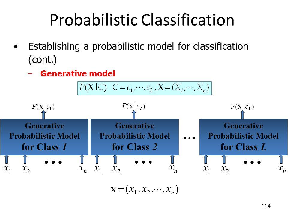 Probabilistic Classification 114 Establishing a probabilistic model for classification (cont.) –Generative model Generative Probabilistic Model for Cl