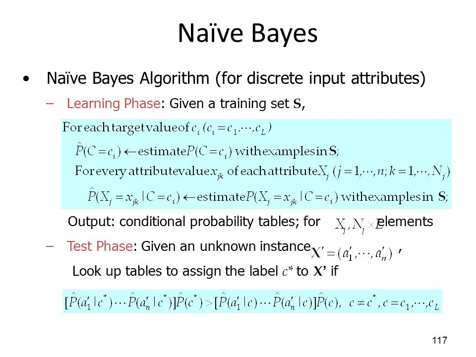 Naïve Bayes 117 Naïve Bayes Algorithm (for discrete input attributes) –Learning Phase: Given a training set S, Output: conditional probability tables; for elements –Test Phase: Given an unknown instance, Look up tables to assign the label c* to X' if