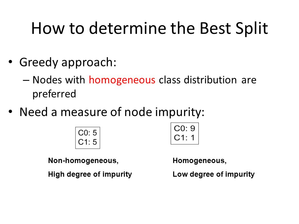 How to determine the Best Split Greedy approach: – Nodes with homogeneous class distribution are preferred Need a measure of node impurity: Non-homogeneous, High degree of impurity Homogeneous, Low degree of impurity