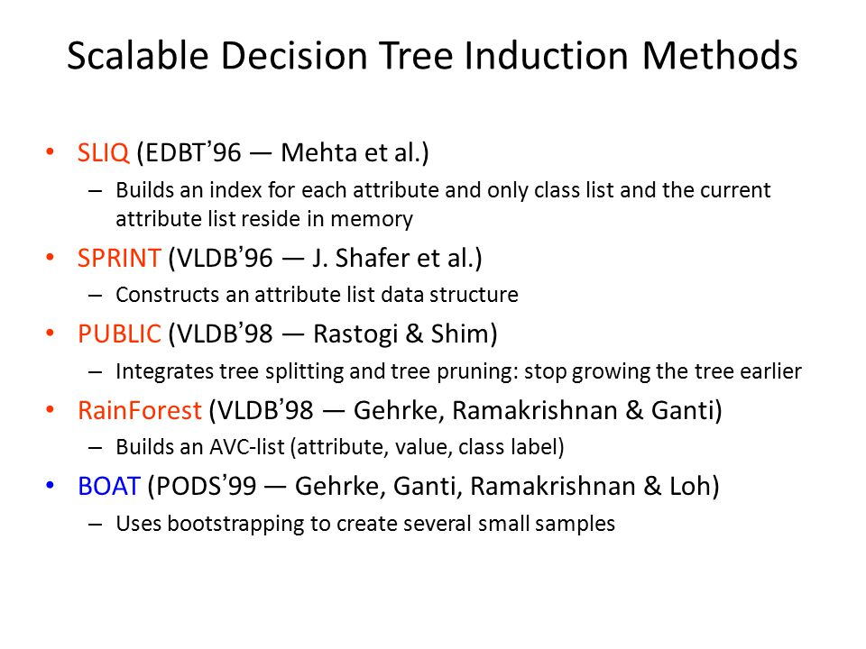 Scalable Decision Tree Induction Methods SLIQ (EDBT'96 — Mehta et al.) – Builds an index for each attribute and only class list and the current attribute list reside in memory SPRINT (VLDB'96 — J.
