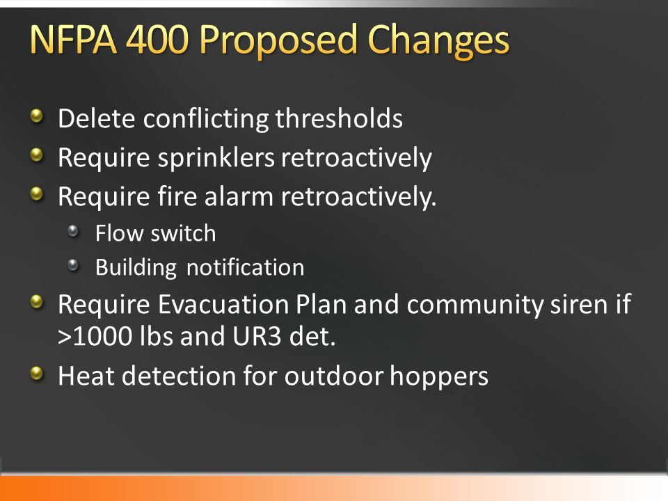 Delete conflicting thresholds Require sprinklers retroactively Require fire alarm retroactively.