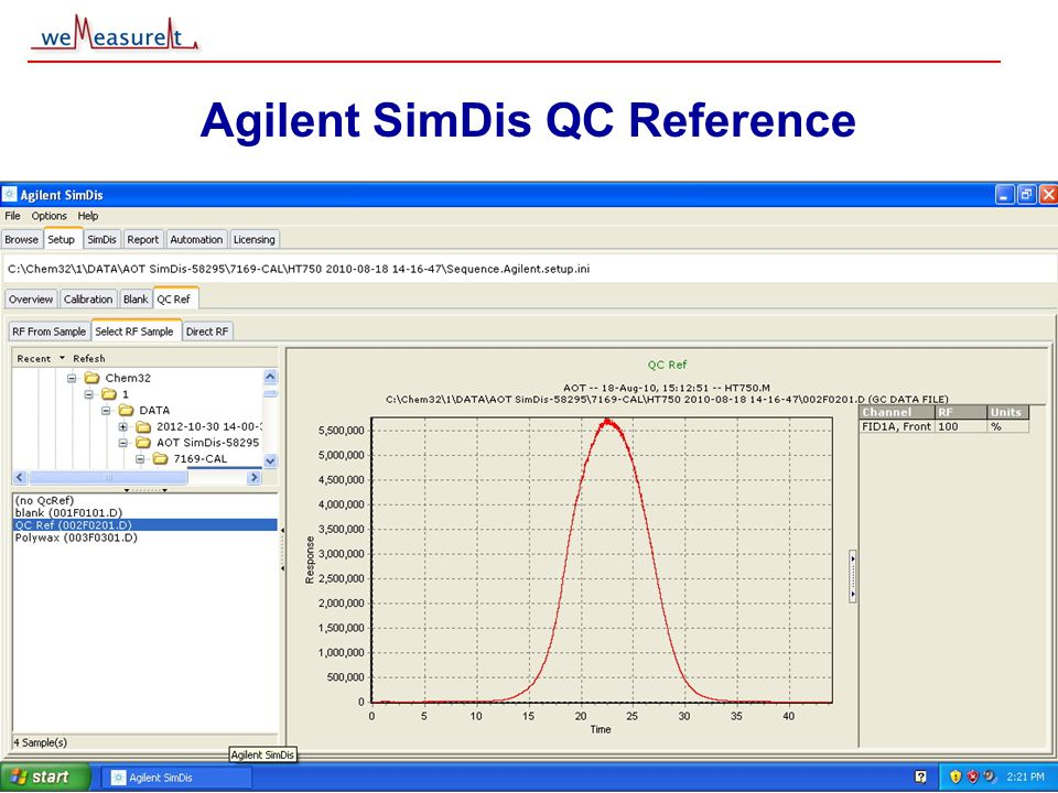 © 2000, 2001 weMeasureIt inc Agilent SimDis QC Reference Reference