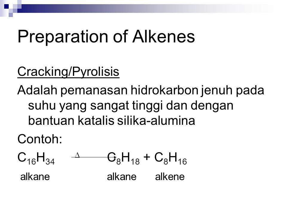 Preparation of Alkenes Cracking/Pyrolisis Adalah pemanasan hidrokarbon jenuh pada suhu yang sangat tinggi dan dengan bantuan katalis silika-alumina Contoh: C 16 H 34  C 8 H 18 + C 8 H 16 alkane alkane alkene