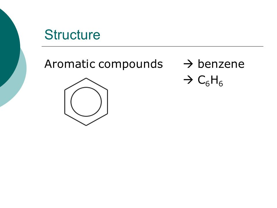 Structure Aromatic compounds  benzene  C 6 H 6
