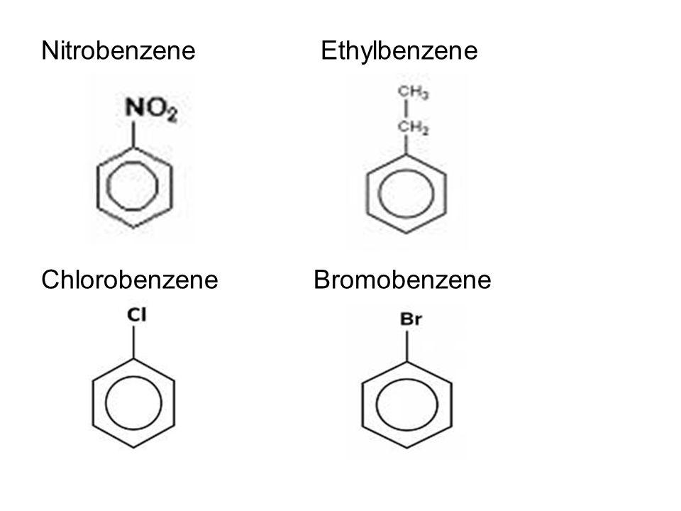 Nitrobenzene Ethylbenzene ChlorobenzeneBromobenzene