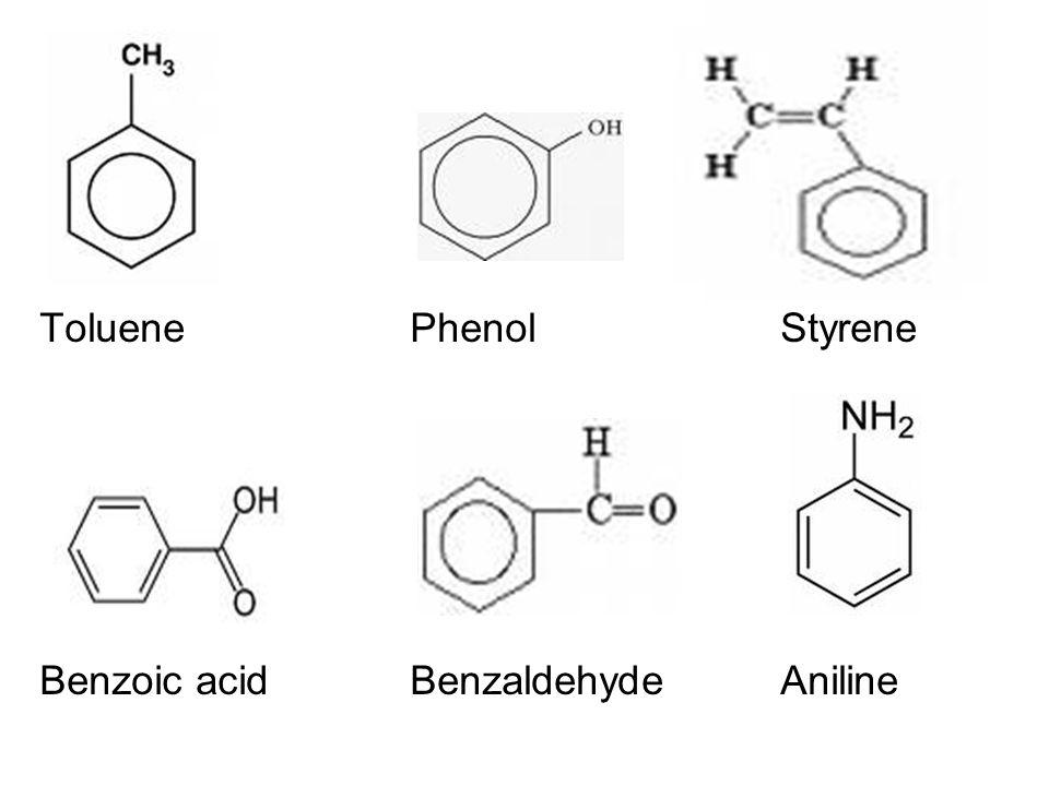 ToluenePhenolStyrene Benzoic acidBenzaldehydeAniline