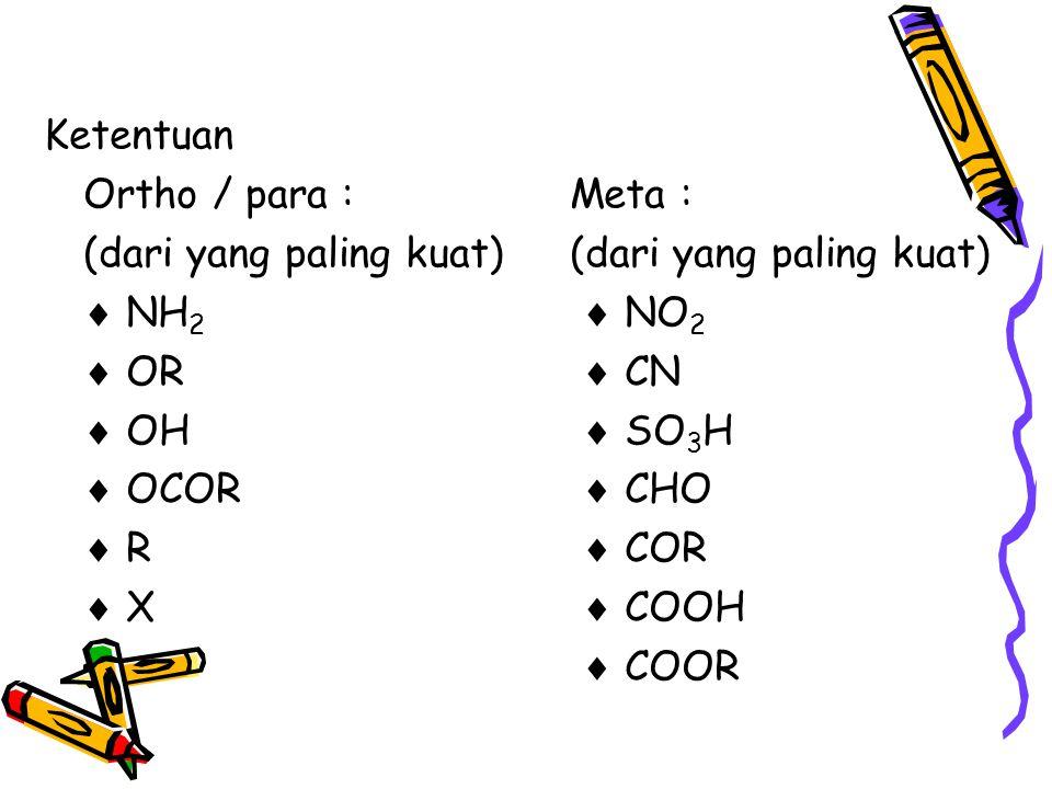 Ketentuan Ortho / para :Meta :(dari yang paling kuat)  NH 2  NO 2  OR  CN  OH  SO 3 H  OCOR  CHO  R  COR  X  COOH  COOR