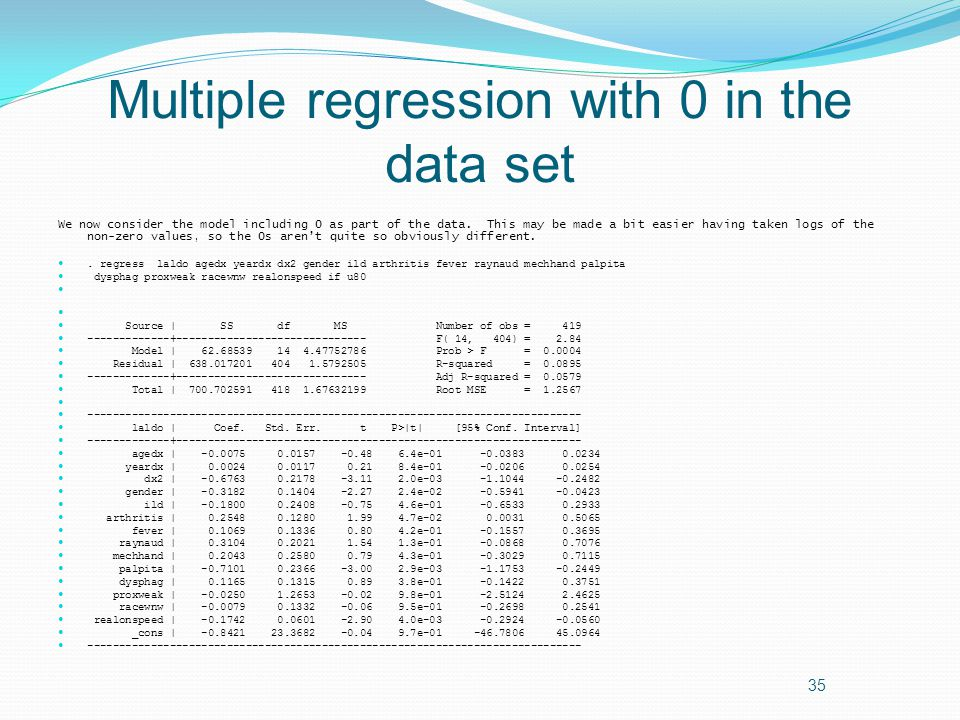 Multiple regression with 0 in the data set We now consider the model including 0 as part of the data.