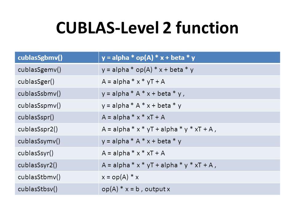 CUBLAS-Level 2 function cublasSgbmv()y = alpha * op(A) * x + beta * y cublasSgemv()y = alpha * op(A) * x + beta * y cublasSger()A = alpha * x * yT + A cublasSsbmv()y = alpha * A * x + beta * y, cublasSspmv()y = alpha * A * x + beta * y cublasSspr()A = alpha * x * xT + A cublasSspr2()A = alpha * x * yT + alpha * y * xT + A, cublasSsymv()y = alpha * A * x + beta * y cublasSsyr()A = alpha * x * xT + A cublasSsyr2()A = alpha * x * yT + alpha * y * xT + A, cublasStbmv()x = op(A) * x cublasStbsv()op(A) * x = b, output x