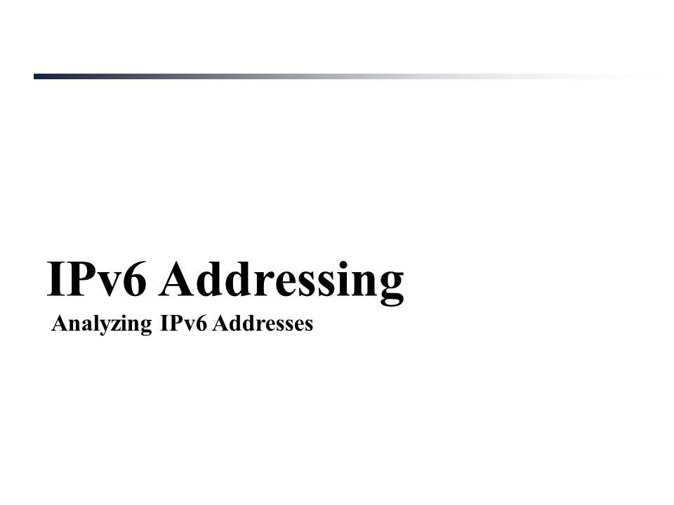 IPv6 Addressing Analyzing IPv6 Addresses