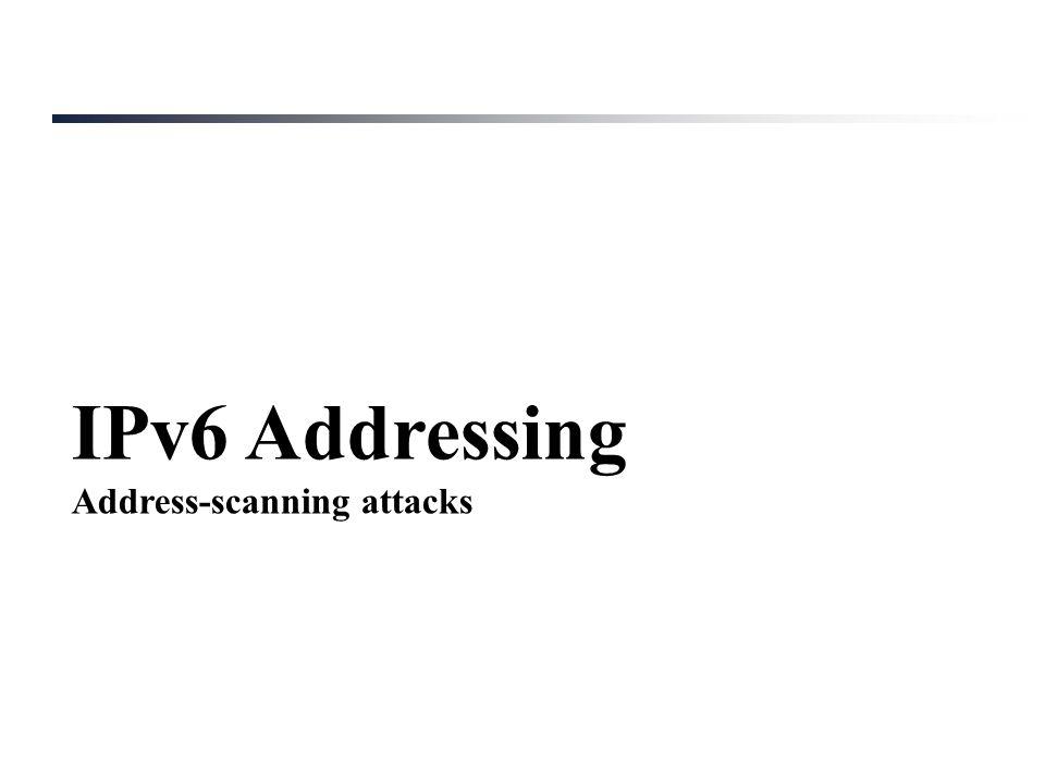 IPv6 Addressing Address-scanning attacks