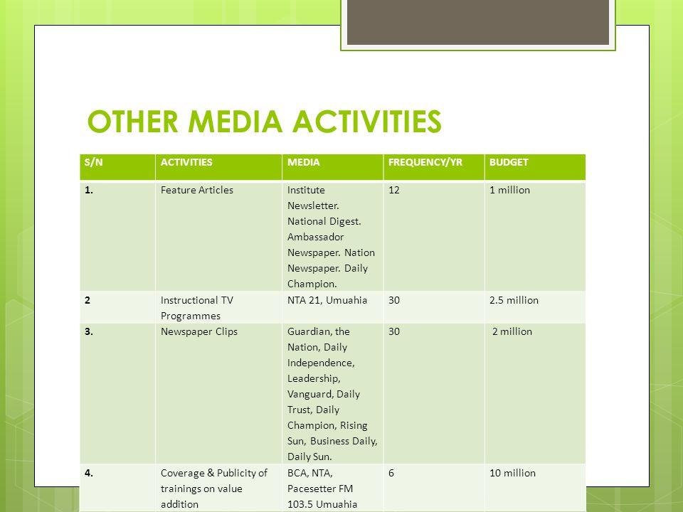 OTHER MEDIA ACTIVITIES S/NACTIVITIESMEDIAFREQUENCY/YRBUDGET 1. Feature Articles Institute Newsletter. National Digest. Ambassador Newspaper. Nation Ne